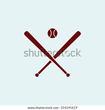baseball Red flat icon. Simple illustration pictogram - stock photo