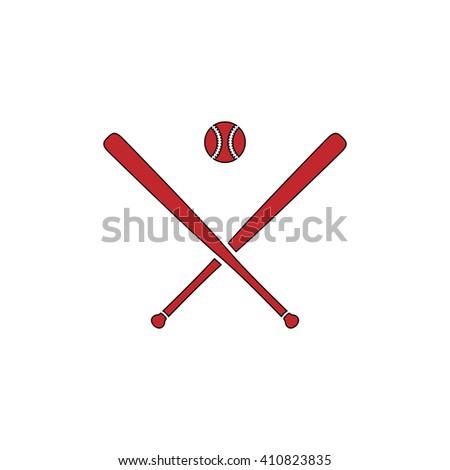 baseball Simple red icon on white background. Flat pictogram - stock photo