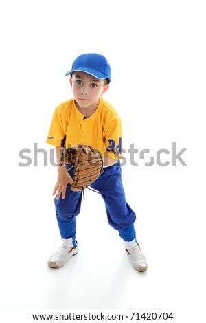 Baseball, softball or t-ball catcher ballplayer crouching with mitt.  White background. - stock photo