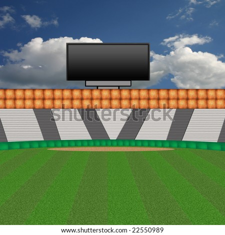 Baseball Stadium Background with Blank Scoreboard Screen
