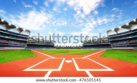 baseball stadium playground with blue cloudy sky, sport theme 3D illustration