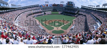 Baseball stadium, Texas Rangers v. Baltimore Orioles, Dallas, Texas - stock photo