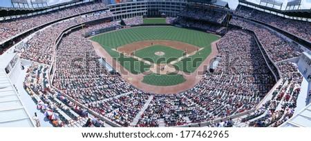 Baseball stadium, Texas Rangers v. Baltimore Orioles, Dallas, Texas - stock photo