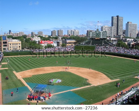 baseball stadium with city back ground