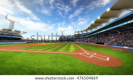 baseball stadium with fans at sunny weather, sport theme 3D illustration