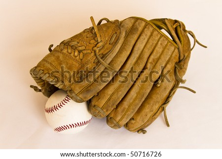 Baseball stuff (leather glove and ball)