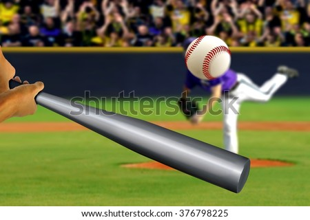 Baseball swing with pitcher and spectator background - stock photo