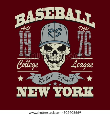 Baseball t-shirt graphic design. New York City College typography emblem -  illustration  - stock photo