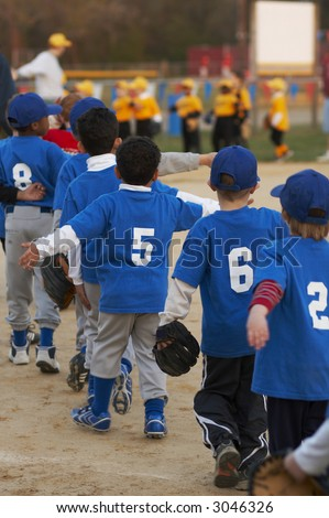 baseball team at end of game - stock photo