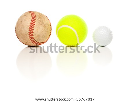 Baseball, Tennis and Golf Ball Isolated on a White Relfective Background.