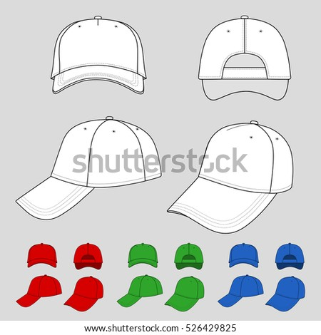 Baseball, tennis cap colored illustration featured front, back, side, top, bottom isolated on grey