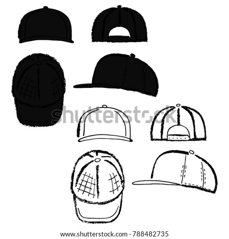 Baseball, tennis, rap cap outlined oil pastel template sketch (front, back and side views), illustration isolated on white background