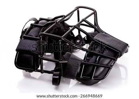 Baseball: Umpire Mask Lying Down - stock photo