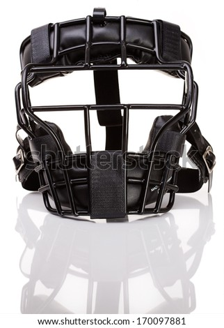 Baseball: Umpire's mask, isolated on white.  - stock photo