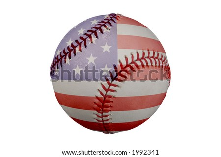 Baseball with American flag and clipping path