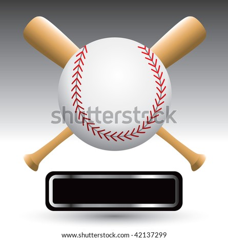baseball with bats over nameplate - stock photo