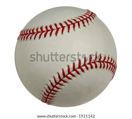 Baseball with clipping path (isolated) - stock photo