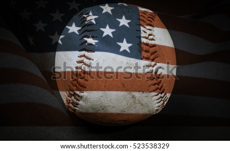 Baseball with United States flag on the dark background