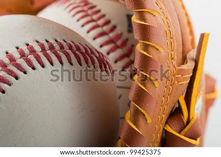 baseballglove with balls - stock photo
