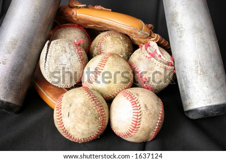 Baseballs, Glove and Bat