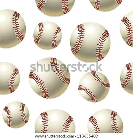 Baseballs Seamless pattern (jpg). Vector version also available - stock photo