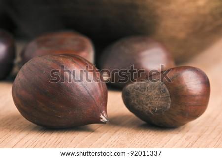 based group of chestnut wood - stock photo
