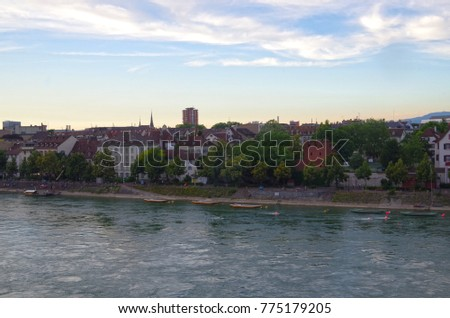 Basel city architecture and the river.