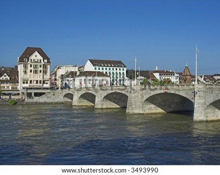 Basel, Mittlere Bruecke and Kaeppelijoch - stock photo
