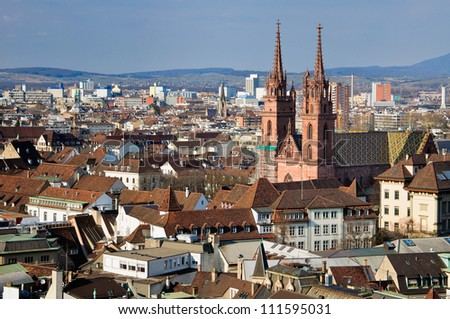 Basel Munster and city view. Switzerland.