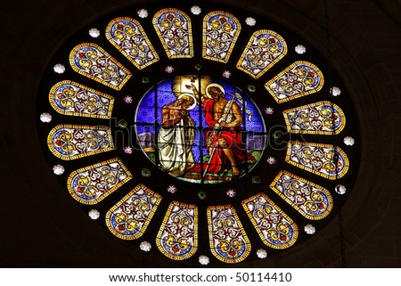 Basel Munster Cathedral interior details, Switzerland - stock photo