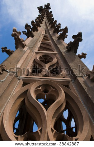 Basel Munster cathedral spire - stock photo