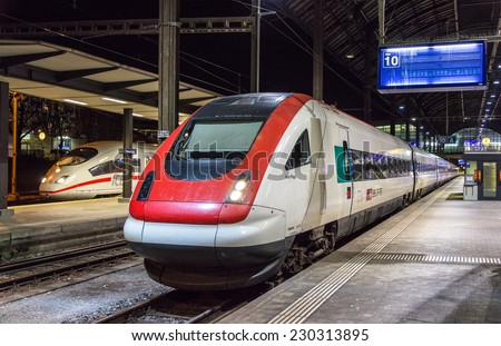 BASEL, SWITZERLAND - NOVEMBER 03: SRABDe 500, a Swiss tilting high-speed train, on November 03, 2013 in Basel, Switzerland. The train has maximal speed of 200 km/h and 431 seats - stock photo