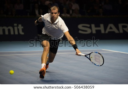 BASEL, SWITZERLAND - OCT 29: Gilles Muller in action vs Kei Nishikori at the ATP 500 World Tour, Swiss Indoors Tennis Tournament at St. Jakobshalle in Basel, Switzerland on October 29, 2016