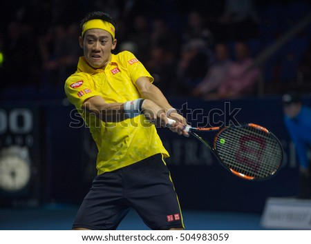 BASEL, SWITZERLAND - OCT 26: Kei Nishikori at the ATP 500 World Tour Swiss Indoors Tennis Tournament in Basel, Switzerland on October 26, 2016