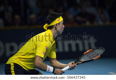 BASEL, SWITZERLAND - OCT 29: Kei Nishikori in action vs Gilles Muller at the ATP 500 World Tour, Swiss Indoors Tennis Tournament at St. Jakobshalle in Basel, Switzerland on October 29, 2016