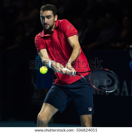 BASEL, SWITZERLAND - OCT 30: Marin Cilic in action at the ATP 500 World Tour, Swiss Indoors Tennis Tournament at St. Jakobshalle in Basel, Switzerland on October 30, 2016