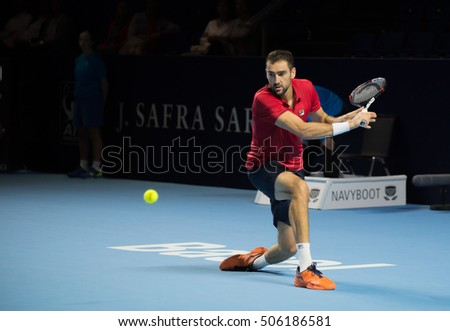 BASEL, SWITZERLAND - OCT 27: Marin Cilic in action vs Pablo Carreno Busta at the ATP 500 World Tour Swiss Indoors Tennis Tournament at St.Jakobshalle in Basel Switzerland on October 27, 2016