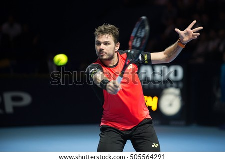 BASEL, SWITZERLAND - OCT 27: Stan Wawrinka in action vs Donald Young at the ATP 500 World Tour Swiss Indoors Tennis Tournament at St.Jakobshalle in Basel Switzerland on October 27, 2016