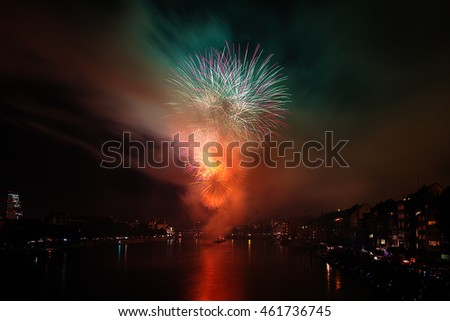 BASEL, SWITZERLAND. 31st July, 2016. Swiss National Day Fireworks with the Mittlere Rheinbruecke in the background in Basel, Switzerland.