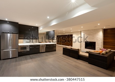 Basement entertainment room in new luxury house - stock photo
