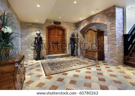 Basement foyer area with doors to theater room - stock photo