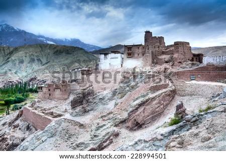Basgo Monastery is a Buddhist monastery in Basgo, Ladakh, India - stock photo