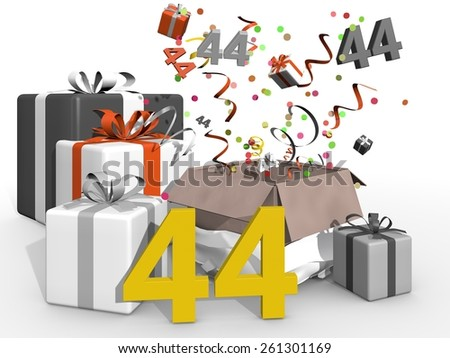 Bash with confetti and gifts for number 44