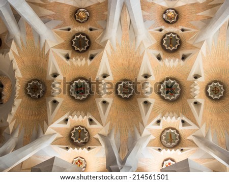 Basi�­lica i Temple Expiatori de la Sagrada Fami�­lia is a large Roman Catholic church in Barcelona, Spain, designed by Catalan architect Antoni Gaudi - stock photo