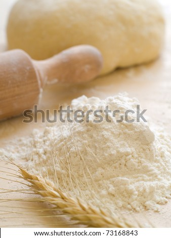 Basic ingredients for baking.  All the ingredients and utensils essential for baking. - stock photo