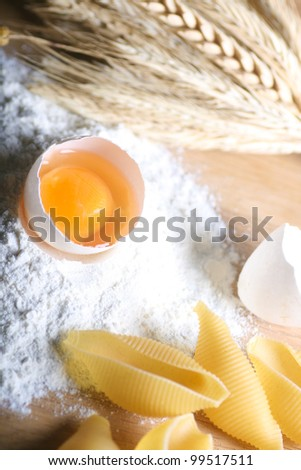 Basic ingredients for baking. All the ingredients and utensils essential for baking.