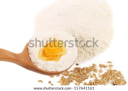 Basic ingredients for baking. Isolated on a white background.