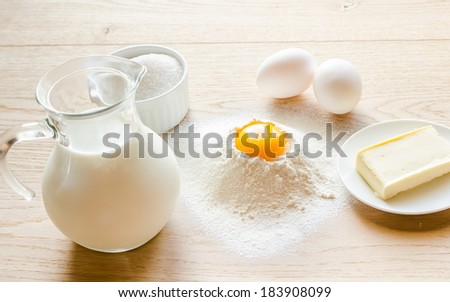 Basic ingredients for sweet bread (panettone) - stock photo