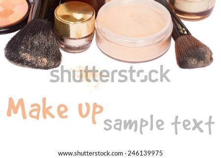 Basic make-up products with brushed  isolated on white background - stock photo