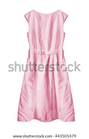 Basic pink cotton dress isolated over white